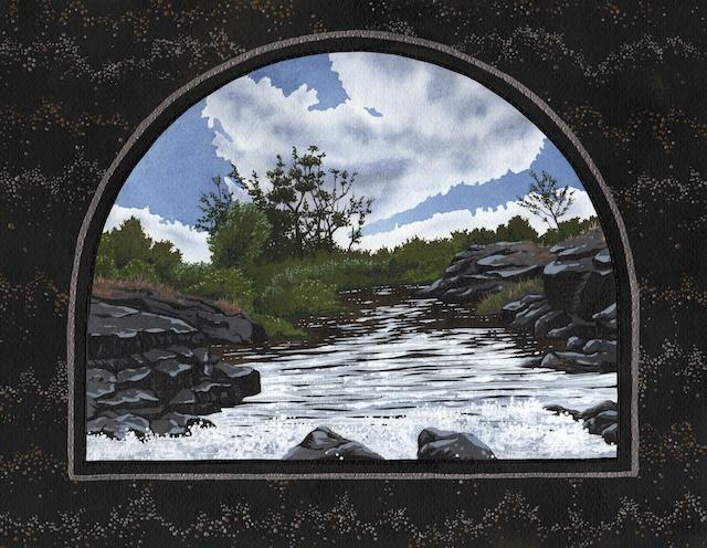 "Snake River Basin: Fall River, 11"" X 14"", acrylic, 2013, Mark W. McGin"