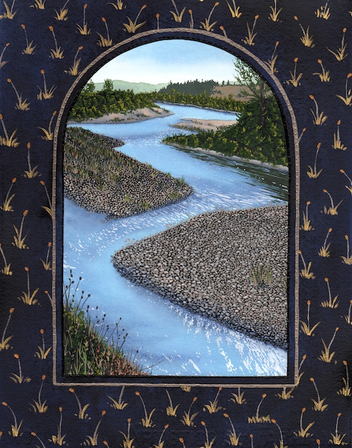 """Snake River Basin: Gros Ventre River, 11"""" X 14"""", acrylic on paper, 2013, Mark W. McGinnis"""