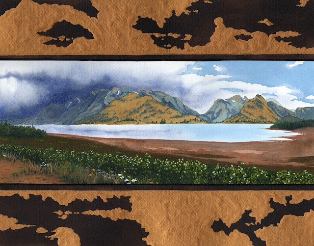 "Snake River Basin: Jackson Lake, 11"" X 14"", acrylic, 2013, Mark W. McGinnis"
