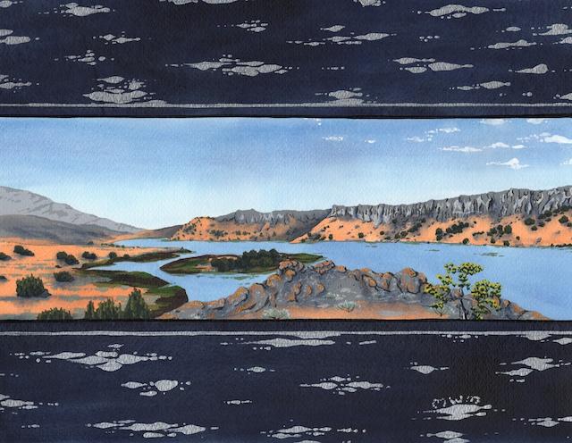 "Snake River Basin: Snake River at Massacre Rocks, 11"" X 14"", acrylic, 2013, Mark W. McGinnis"