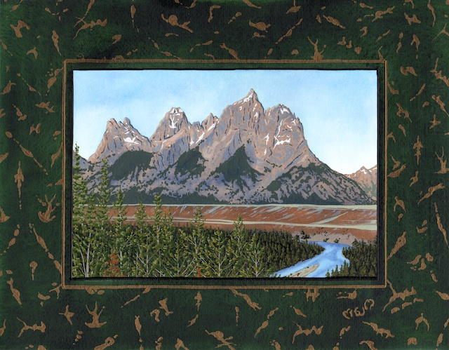 "Snake River Basin: Snake River and Grand Tetons, 11"" X 14"", acrylic on paper, 2013, Mark W. McGinnis"