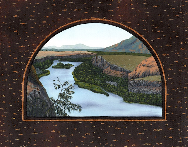 "Snake River Basin: Snake River in East Idaho, 11"" X 14"", acrylic on paper, 2013, Mark W. McGinnis"
