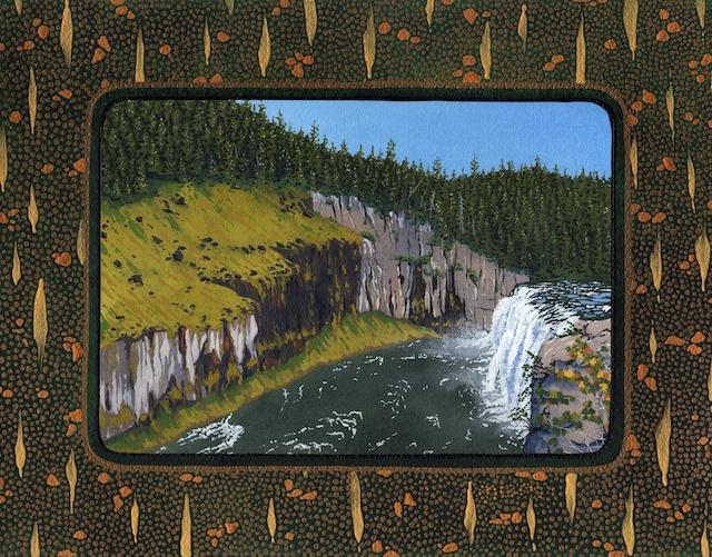 "Snake River Basin: Upper Mesa Falls on Henry's Fork, 11"" X 14"", acrylic, 2013, Mark W. McGinnis"