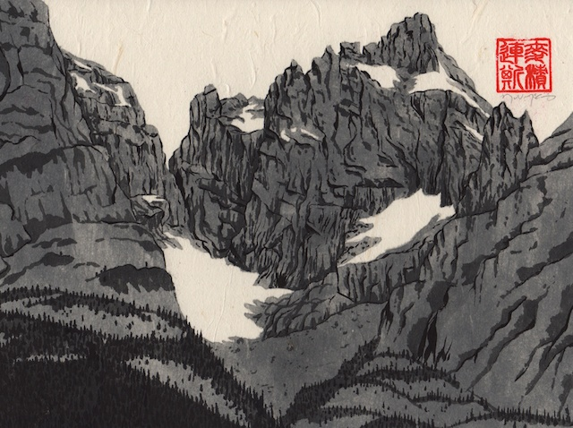 Grand Tetons #5, hand-ground black ink, mulberry paper mounted on Claybord, 2013,  Mark W. McGinnis