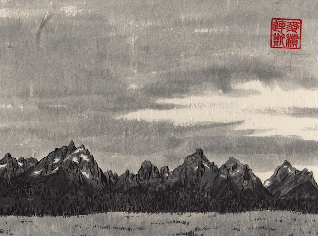Grand Tetons #7, hand-ground black ink, mulberry paper mounted on Claybord, 2013,  Mark W. McGinnis