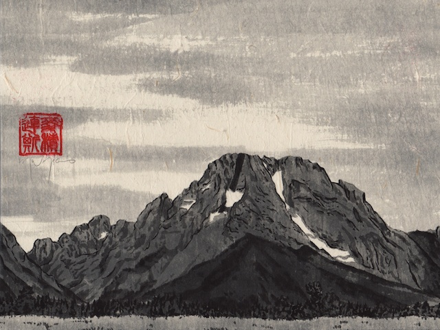 Grand Tetons #8, hand-ground black ink, mulberry paper mounted on Claybord, 2013,  Mark W. McGinnis