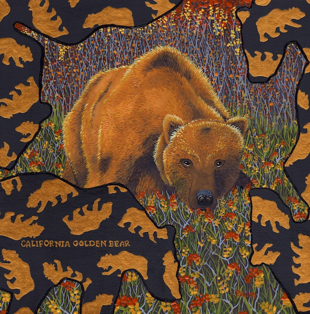 "California Golden Bear, 12' X 12"", acrylic on paper, 2014, Mark W.McGinnis"